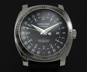 【1544】【WANCHER/ワンチャー】【腕時計】ASTRONAUTスペースパイロットGMT機能搭載!ミリタリーウオッチ機械式自動巻き24時間表示機能少量生産モデル【即納/送料無料】