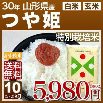 山形県産 つや姫 特別栽培米 10kg(5kg×2)送料無料 29年産の(玄米)又は(白米) 内祝いやお返し、ギフトに熨斗(のし)名入れ 可
