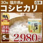 新米 30年産 福井県産 コシヒカリ 米 5kg 送料無料 (白米/精米) 内祝いやお返し ギフトに熨斗(のし)名入れ 可