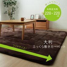 フランネル大判ふっくらラグ【約220×220cm】正方形ラグスクエアラグホットカーペット対応床暖対応送料無料