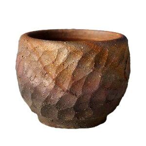 Shigaraki ware pot de fleurs Four fait main étrange chanfrein pot n ° 3 (diamètre 9 cm hauteur 7 cm) [Pot d'herbe Yamano Petit pot d'orchidée Pot de plantes succulentes Pot de cactus Pot de bonsaï]
