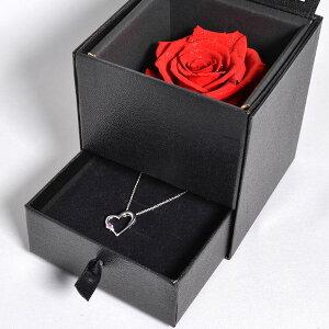 誕生日記念日プレゼント彼女女性ピンクサファイアALWAYSネックレスダイヤモンドローズ(お磨きクロス付バラハンカチ特別ラッピングセット)