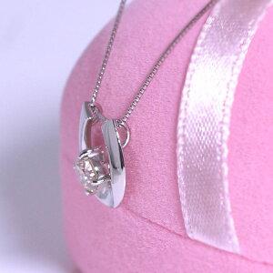 馬蹄ネックレスホースシュー一粒大粒ダイヤモンド0.3ctペンダントプラチナPt