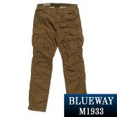 BLUEWAY:バックサテンテーパードカーゴパンツ(ライトブラウン):M1933-1951ブルーウェイメンズ裾上げ