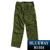 BLUEWAY:バックサテンワイドカーゴパンツ(アーミーグリーン):M1934-59ブルーウェイメンズ裾上げ