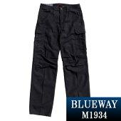 ワイド;BLUEWAY:バックサテンワイドカーゴパンツ(ブラック):M1934-65ブルーウェイメンズ裾上げ