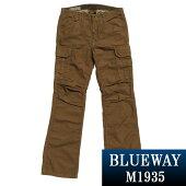ブーツカット;BLUEWAY:バックサテンブーツカットカーゴパンツ(ライトブラウン):M1935-51ブルーウェイメンズ裾上げ