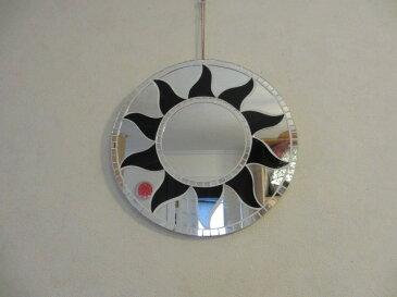 壁掛けミラー / インテリアウォールミラー リゾート アジアン バリ インテリア 鏡*モザイクミラー ブラック ファイヤー