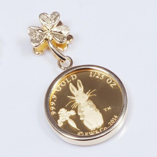 18金枠純金ピ−ターラビット記念メダルペンダントトップ(クローババチカン)89092769:I Love ジュエリー