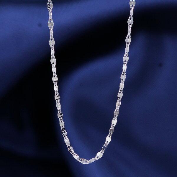 18金ホワイトゴールドデザインネックレス(エクレア)イタリア製 42cm