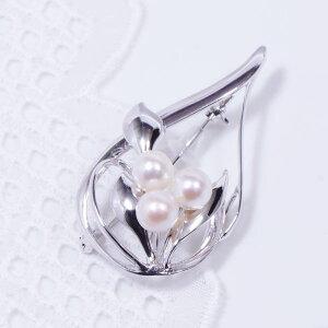 ギフト 新商品 特別奉仕品 シルバー あこや真珠ブローチ兼ペンダントトップ 6 月誕生石 MUNN141