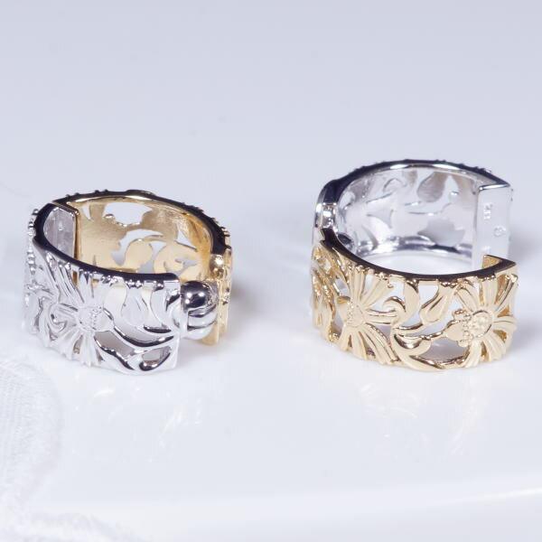 見た目もすっきり!ピアス感覚のイヤリング、新登場18金&K14ホワイトゴールド デザイン ピアリング 花 199396