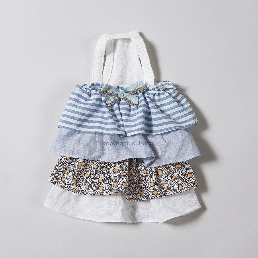 【ゆうパケット無料】Louis Dog (ルイスドッグ)(ルイドッグ)Linen Dress/Blue小型犬 フリル リネン リボン ワンピース フリルドレス ドッグウェア
