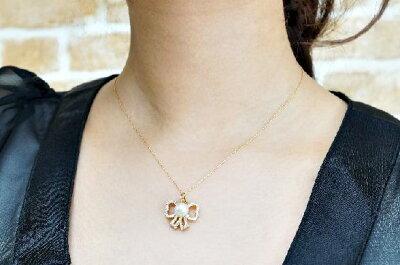オリジナル商品K18YGリボンペンダント天然和珠真珠7ミリ天然ダイヤ0.44ctSI〜Iクラス