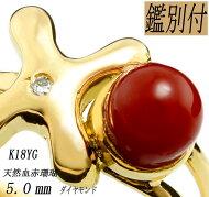 K18YGリング天然血赤珊瑚5.0ミリ【日本産】天然ダイヤ1P【11.5号】【目玉商品】【リング】【ダイヤ】【送料無料】【珊瑚】【サイズ直可】【ギフト】【コーラル】
