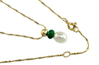 天然真珠<淡水>K18YG天然エメラルドネックレス4センチ付けましたおトク♪