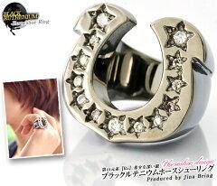 指輪 メンズ レディース【送料無料】ブラックルテニウムコーティング【馬蹄 ラッキ…