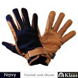 Klaus 乗馬用ワッフル・レザーグローブKE2(ネイビー紺×キャラメルブラウン) 本皮/本革 手袋 牛革 乗馬用品