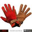 Klaus 乗馬用ワッフル・レザーグローブKE4(レッド×キャラメルブラウン) 本皮/本革 赤×茶色 手袋 牛革 乗馬用品