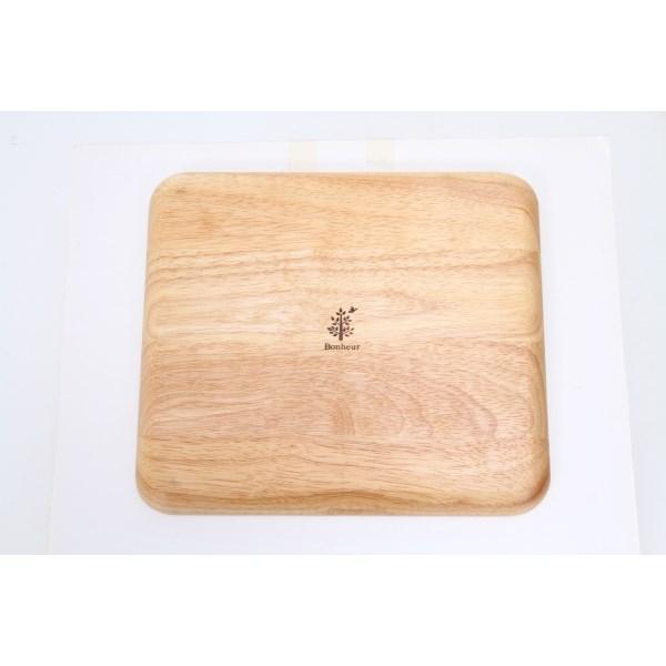 ボヌール Bonheur 25.5cm ランチプレート 長角 A 木製 木 子供 キッズ 食器 仕切り プレート ウッド 天然木 カフェ ランチ wood plate ウッドバーニング 不二貿易 あす楽対応可 ラッピング不可