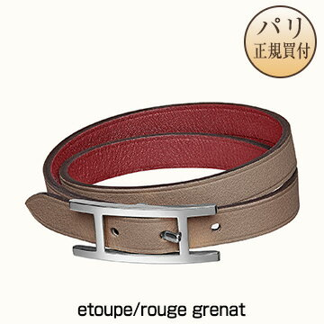 男女兼用アクセサリー, ブレスレット  HERMES 2020 Bracelet Behapi Double Tour etouperouge grenat H064647CKCB