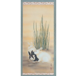 Ou Maruyama Masterpieces of 12th February February Tree bandit rabbit figure Hanging scroll Hanging scroll
