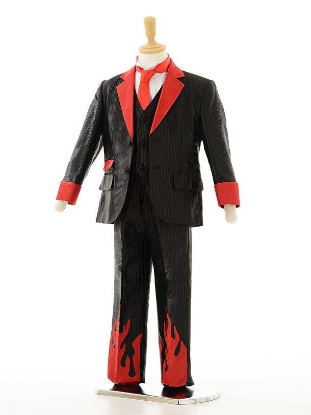 【レンタル】男の子 タキシード1BD0014 〔110cm〕男児タキシード黒×赤ホットロッドfy16REN07