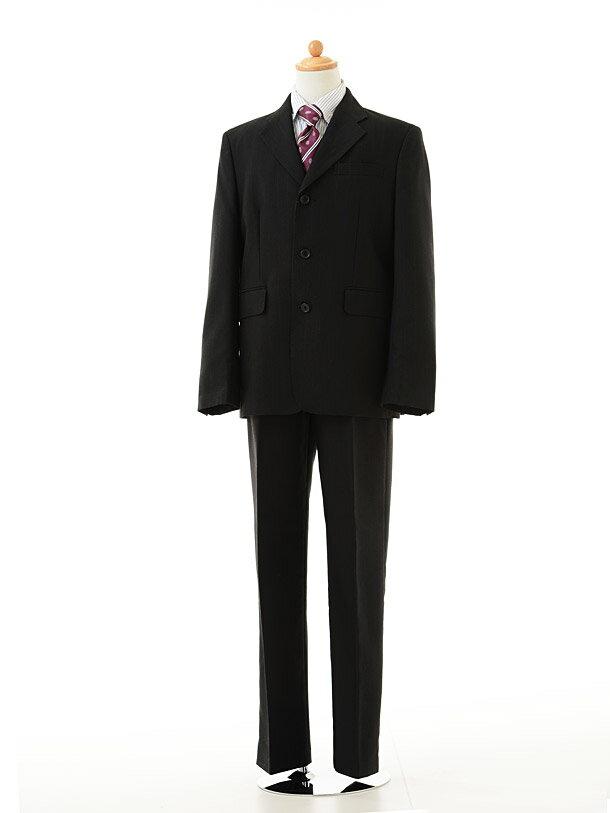 【レンタル】男の子 スーツ1BD0037 〔150cm〕ブラックストライプfy16REN07