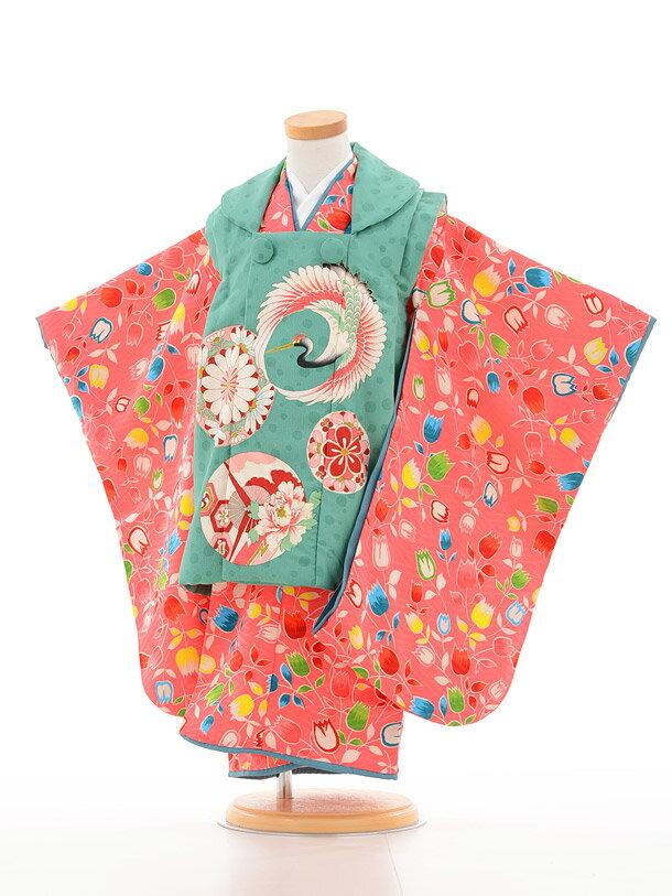 【レンタル】七五三 着物 3歳 レトロ 女の子 フルセットレンタル 着物 被布セット 03141 モダンアンテナ グリーン×ピンクfy16REN07