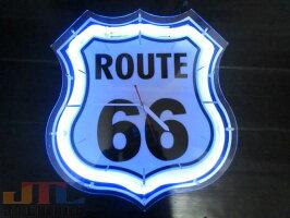 ルート66ROUTE66ネオンクロック時計インテリアBARCafeネオン管ネオン看板