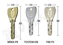 MIWA(美和ロック)PS(DN)シリンダーサイズ