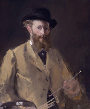 油絵 油彩画 絵画 複製画 エドゥアール・マネ パレットを持った自画像 F10サイズ F10号 530x455mm すぐに飾れる豪華額縁付きキャンバス