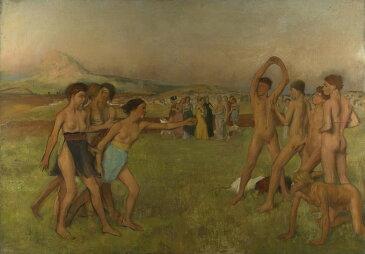 油絵 油彩画 絵画 複製画 エドガー・ドガ 少年たちを挑発するスパルタの少女たち P10サイズ P10号 530x410mm すぐに飾れる豪華額縁付きキャンバス