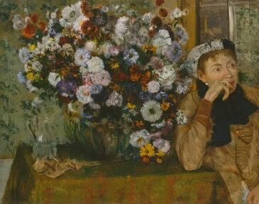 油絵 油彩画 絵画 複製画 エドガー・ドガ 花瓶の花の傍で座っている女性 F10サイズ F10号 530x455mm すぐに飾れる豪華額縁付きキャンバス