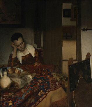絵画 インテリア 額入り 壁掛け 油絵 ヨハネス・フェルメール 眠る女 F20サイズ F20号 727x606mm 絵画 インテリア 額入り 壁掛け 油絵