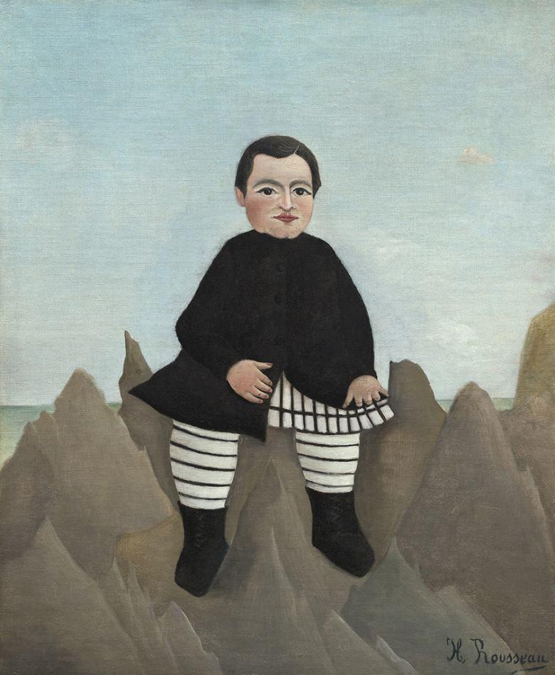 絵画 インテリア 額入り 壁掛け 油絵 アンリ・ルソー 岩の上の少年  F20サイズ F20号  727x606mm 絵画 インテリア 額入り 壁掛け 油絵:絵画販売のアートギャラリー南青山