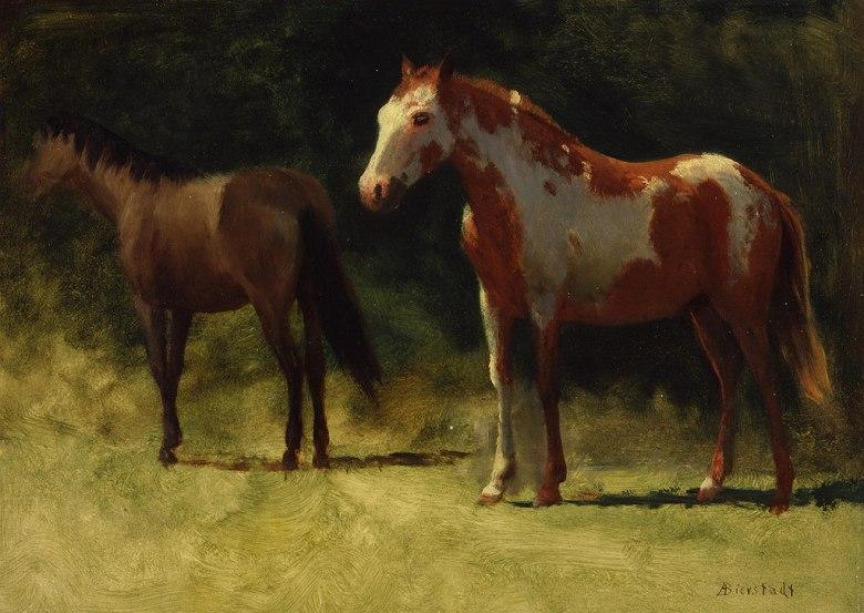 絵画 インテリア 額入り 壁掛け 油絵 アルバート・ビアスタット 二匹の馬  P20サイズ P20号  727x530mm 絵画 インテリア 額入り 壁掛け 油絵:絵画販売のアートギャラリー南青山