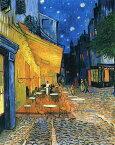 【送料無料】絵画 油彩画複製油絵複製画/ゴッホ 夜のカフェテラス F15サイズ 652x530mm 【すぐに飾れる豪華額縁付 キャンバス】