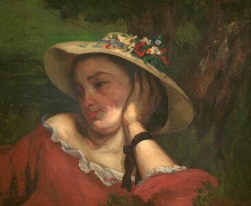 油絵 油彩画 絵画 複製画 ギュスターヴ・クールベ セーヌ川の土手の若い女性 F10サイズ F10号 530x455mm すぐに飾れる豪華額縁付きキャンバス