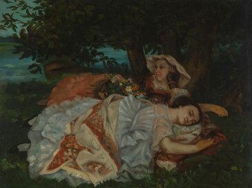 油絵 油彩画 絵画 複製画 ギュスターヴ・クールベ セーヌ川河畔の若い娘たち P10サイズ P10号 530x410mm すぐに飾れる豪華額縁付きキャンバス