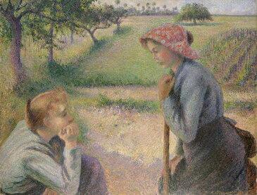 油絵 油彩画 絵画 複製画 カミーユ・ピサロ 二人の若い農婦 P10サイズ P10号 530x410mm すぐに飾れる豪華額縁付きキャンバス