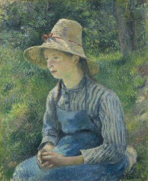 油絵 カミーユ・ピサロ 麦藁帽子をかぶった農婦 F12サイズ F12号 606x500mm 油彩画 絵画 複製画 選べる額縁 選べるサイズ