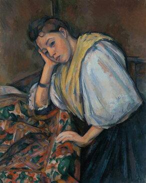 油絵 油彩画 絵画 複製画 ポール・セザンヌ テーブルにいる若いイタリア女性 F10サイズ F10号 530x455mm すぐに飾れる豪華額縁付きキャンバス