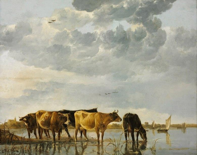 絵画 インテリア 額入り 壁掛け 油絵 アルベルト・カイプ 川にいる牛  F20サイズ F20号  727x606mm 絵画 インテリア 額入り 壁掛け 油絵:絵画販売のアートギャラリー南青山