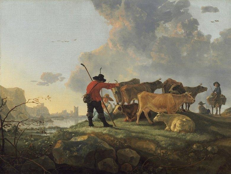 絵画 インテリア 額入り 壁掛け 油絵 アルベルト・カイプ 牛の世話をする牧人  P20サイズ P20号  727x530mm 絵画 インテリア 額入り 壁掛け 油絵:絵画販売のアートギャラリー南青山