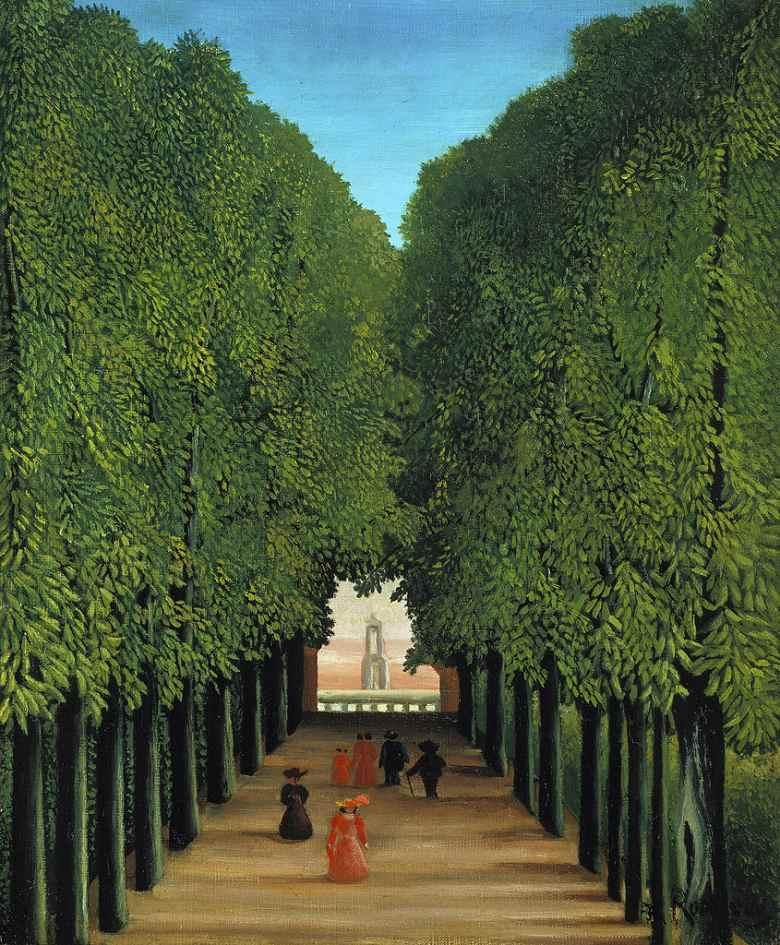 絵画 インテリア 額入り 壁掛け 油絵 アンリ・ルソー サン=クルーの公園の中の並木道  F20サイズ F20号  727x606mm 絵画 インテリア 額入り 壁掛け 油絵:絵画販売のアートギャラリー南青山