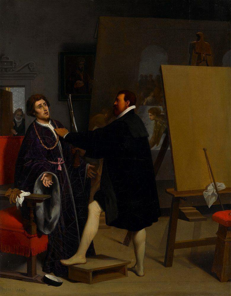 油絵 油彩画 絵画 複製画 ドミニク・アングル ティントレットのアトリエにいるピエトロ・アレティーノ F10サイズ F10号 530x455mm すぐに飾れる豪華額縁付きキャンバス