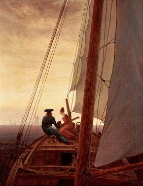 カスパー・ダーヴィト・フリードリヒ 帆船にて F30サイズ F30号 910x727mm 条件付き送料無料  額縁付絵画 インテリア 額入り 壁掛け 油絵 カスパー・ダーヴィト・フリードリヒ