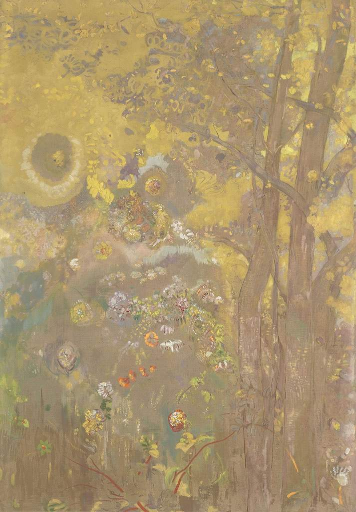 絵画 インテリア 額入り 壁掛け 油絵 オディロン・ルドン 黄色い背景の木々  P20サイズ P20号  727x530mm 絵画 インテリア 額入り 壁掛け 油絵:絵画販売のアートギャラリー南青山