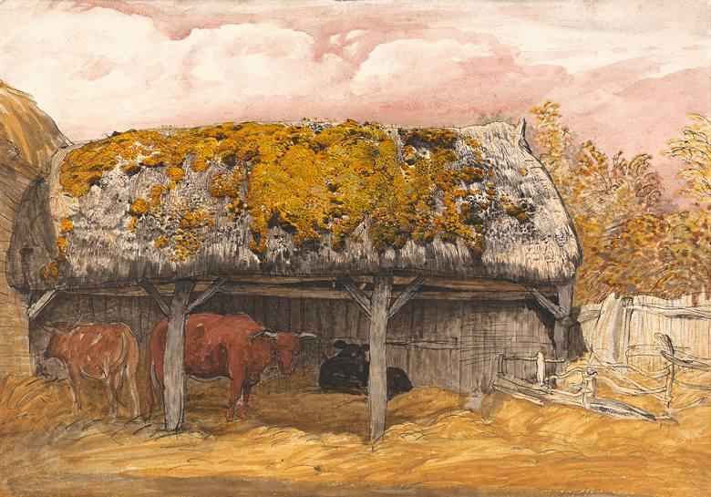 サミュエル・パーマー 苔の生えた屋根の牛舎  P30サイズ P30号  910x653mm ※個人宛配送・代引不可※絵画 インテリア 額入り 壁掛け 油絵 サミュエル・パーマー:絵画販売のアートギャラリー南青山